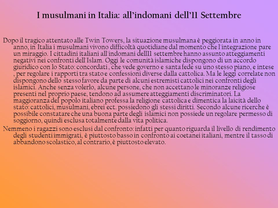 I musulmani in Italia: all'indomani dell'11 Settembre