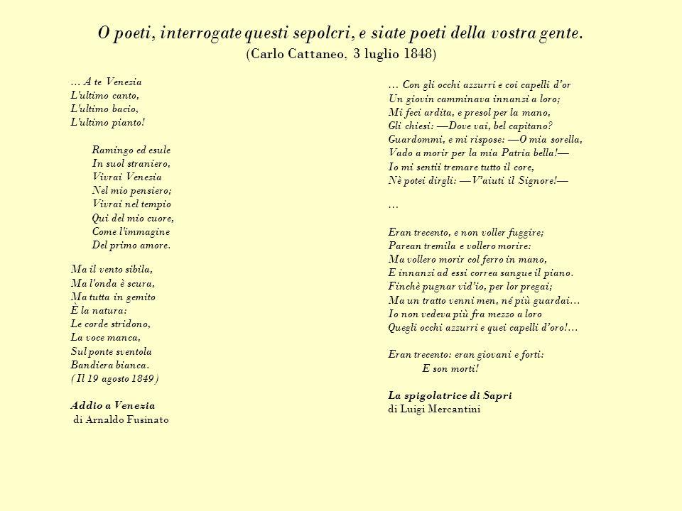 O poeti, interrogate questi sepolcri, e siate poeti della vostra gente