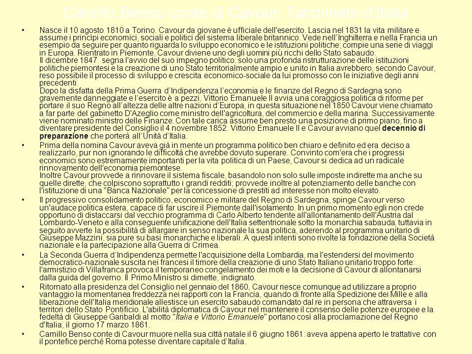 Camillo Benso conte di Cavour: l'architetto d'Italia