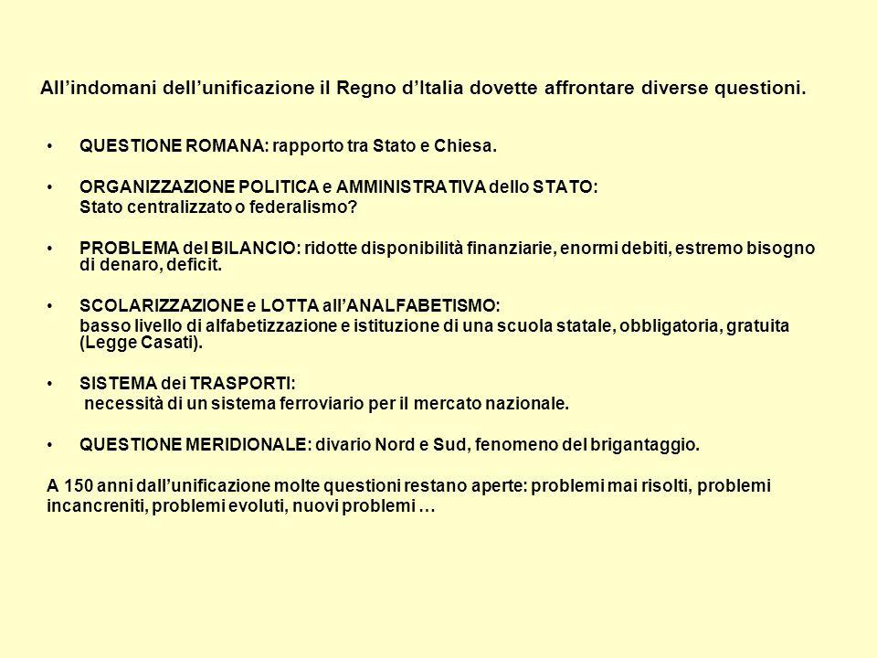 All'indomani dell'unificazione il Regno d'Italia dovette affrontare diverse questioni.