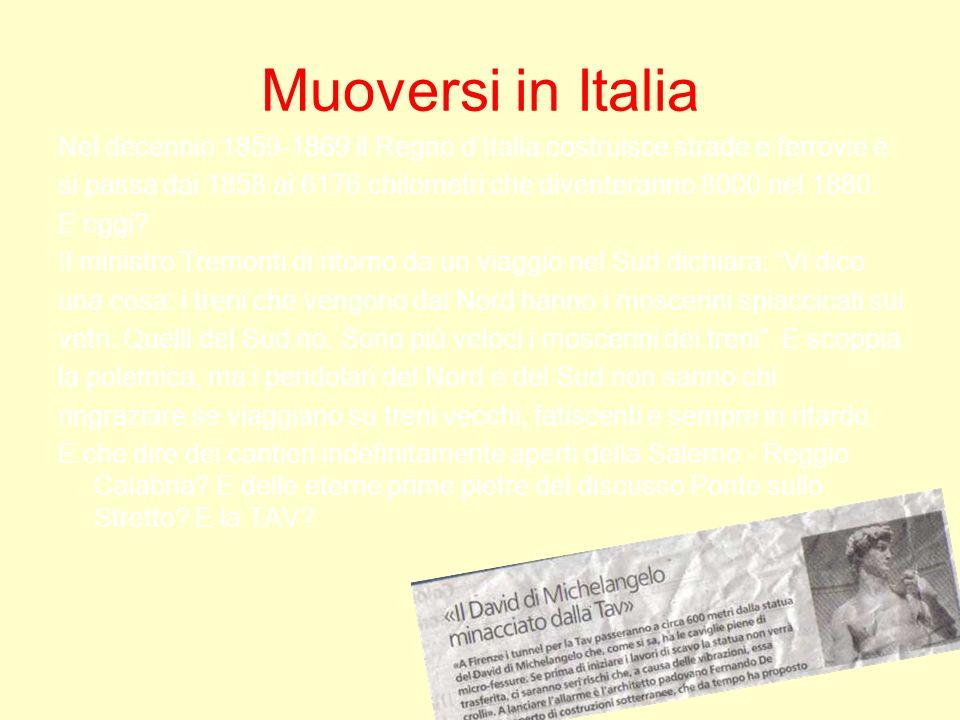 Muoversi in ItaliaNel decennio 1859-1869 il Regno d'Italia costruisce strade e ferrovie e.