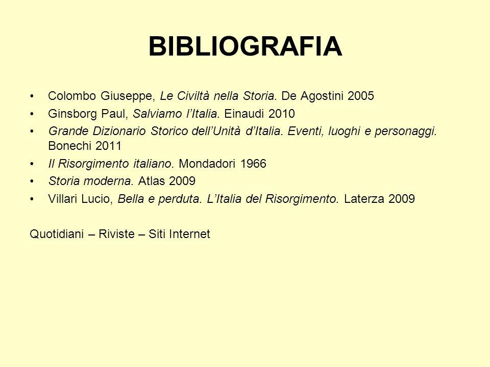 BIBLIOGRAFIA Colombo Giuseppe, Le Civiltà nella Storia. De Agostini 2005. Ginsborg Paul, Salviamo l'Italia. Einaudi 2010.