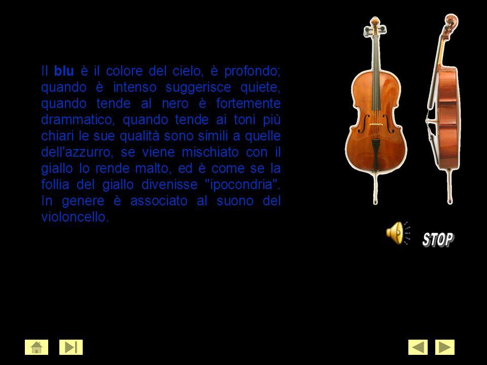 Il blu è il colore del cielo, è profondo; quando è intenso suggerisce quiete, quando tende al nero è fortemente drammatico, quando tende ai toni più chiari le sue qualità sono simili a quelle dell azzurro, se viene mischiato con il giallo lo rende malto, ed è come se la follia del giallo divenisse ipocondria . In genere è associato al suono del violoncello.