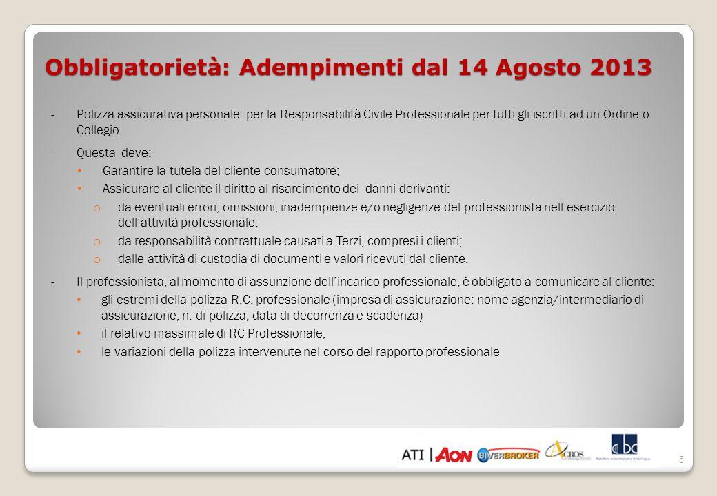 Obbligatorietà: Adempimenti dal 14 Agosto 2013