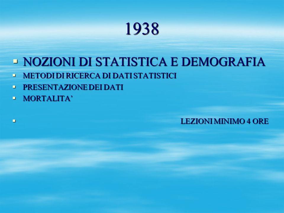 1938 NOZIONI DI STATISTICA E DEMOGRAFIA