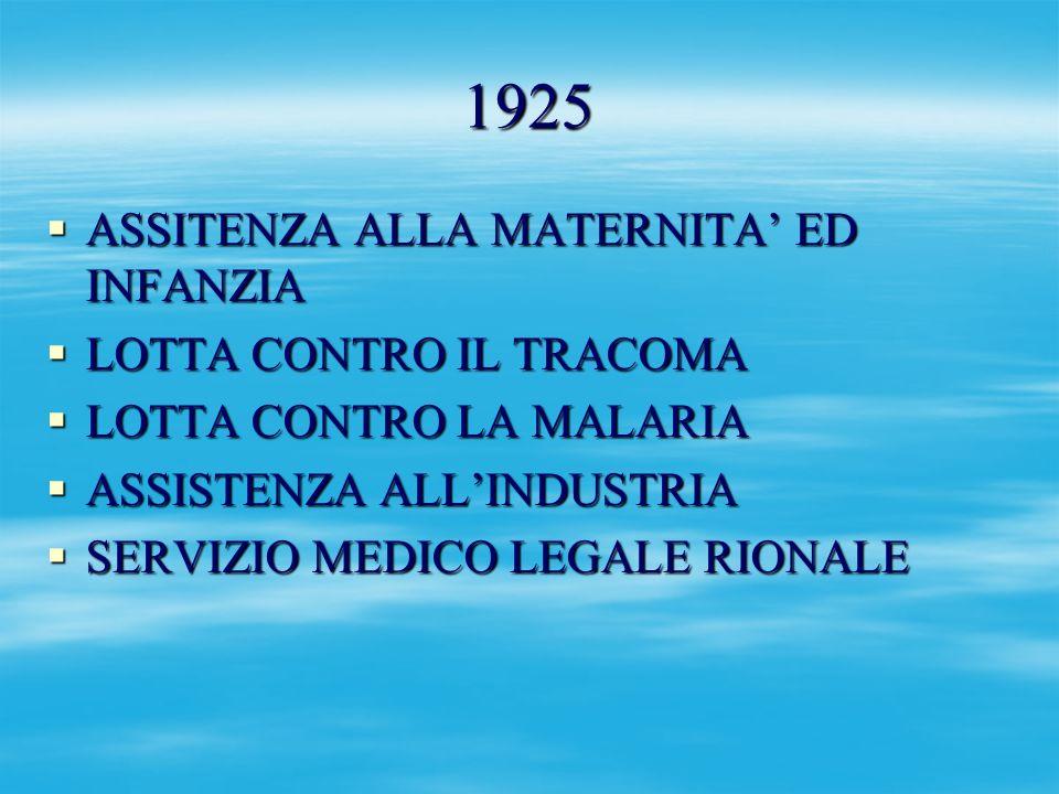 1925 ASSITENZA ALLA MATERNITA' ED INFANZIA LOTTA CONTRO IL TRACOMA