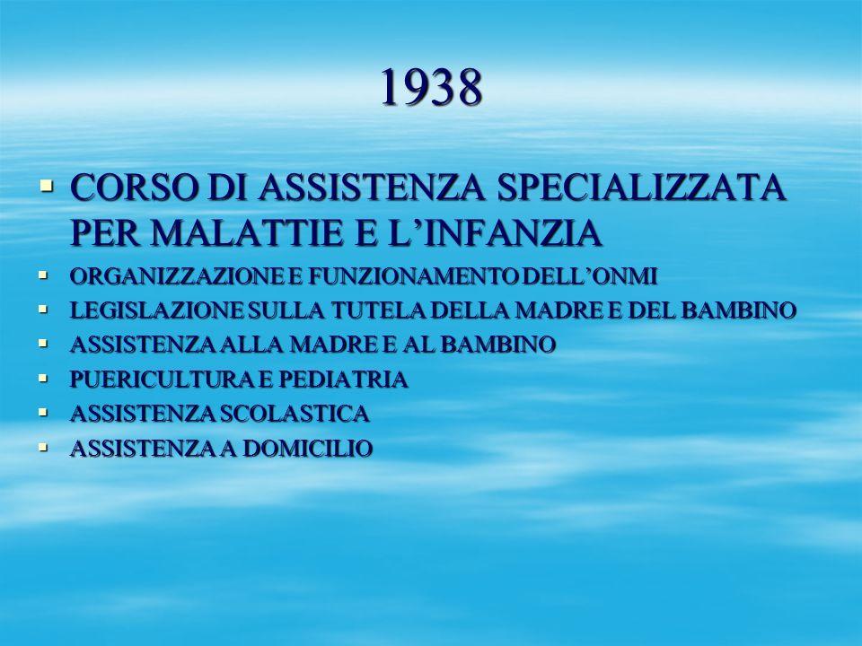 1938 CORSO DI ASSISTENZA SPECIALIZZATA PER MALATTIE E L'INFANZIA