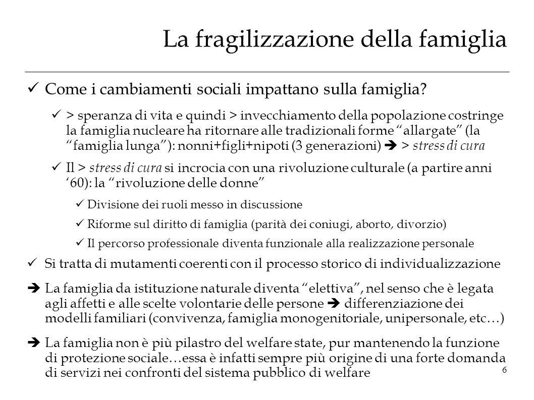 La fragilizzazione della famiglia