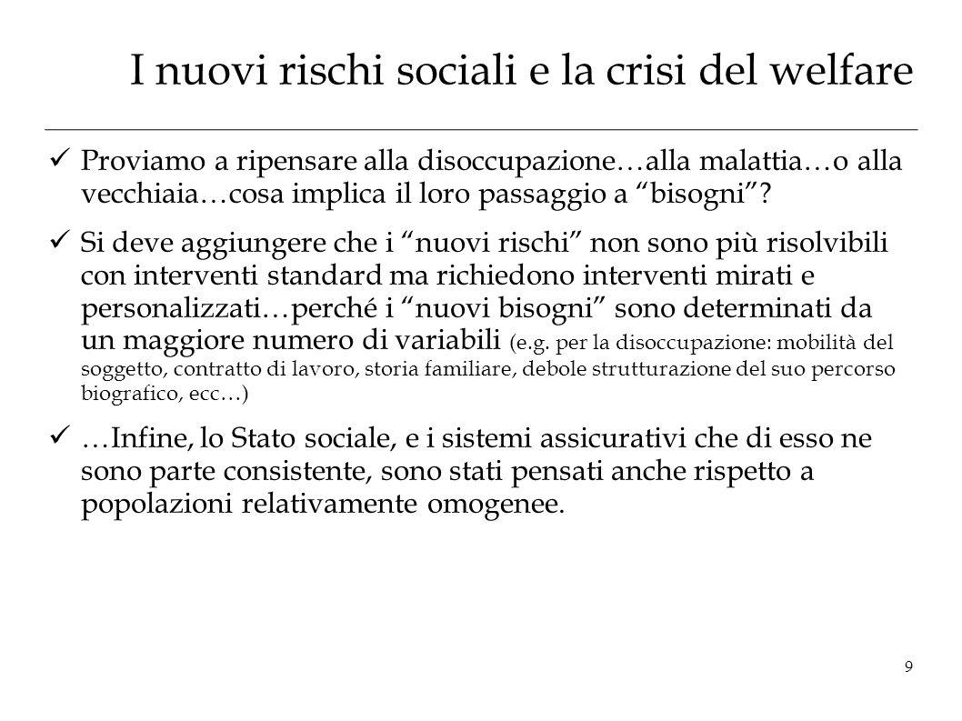 I nuovi rischi sociali e la crisi del welfare