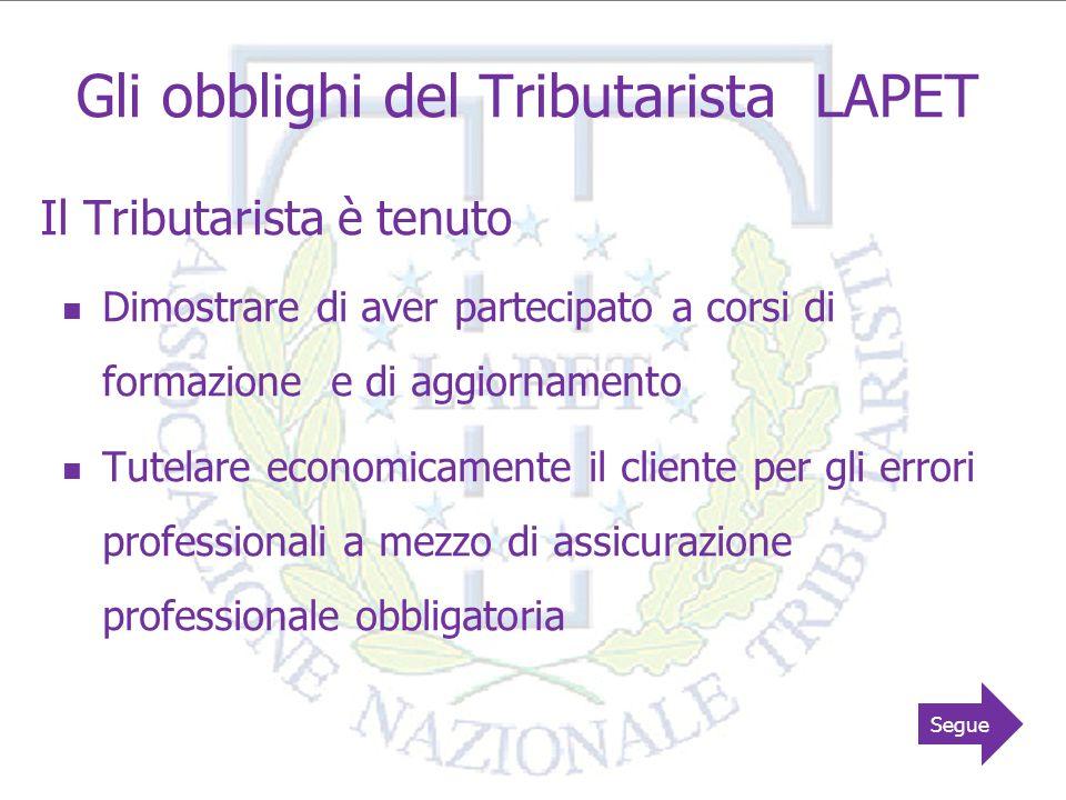 Gli obblighi del Tributarista LAPET