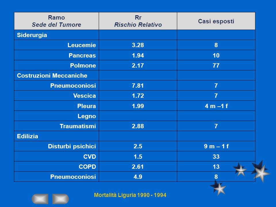 Costruzioni Meccaniche Pneumoconiosi 7.81 7 Vescica 1.72 Pleura 1.99