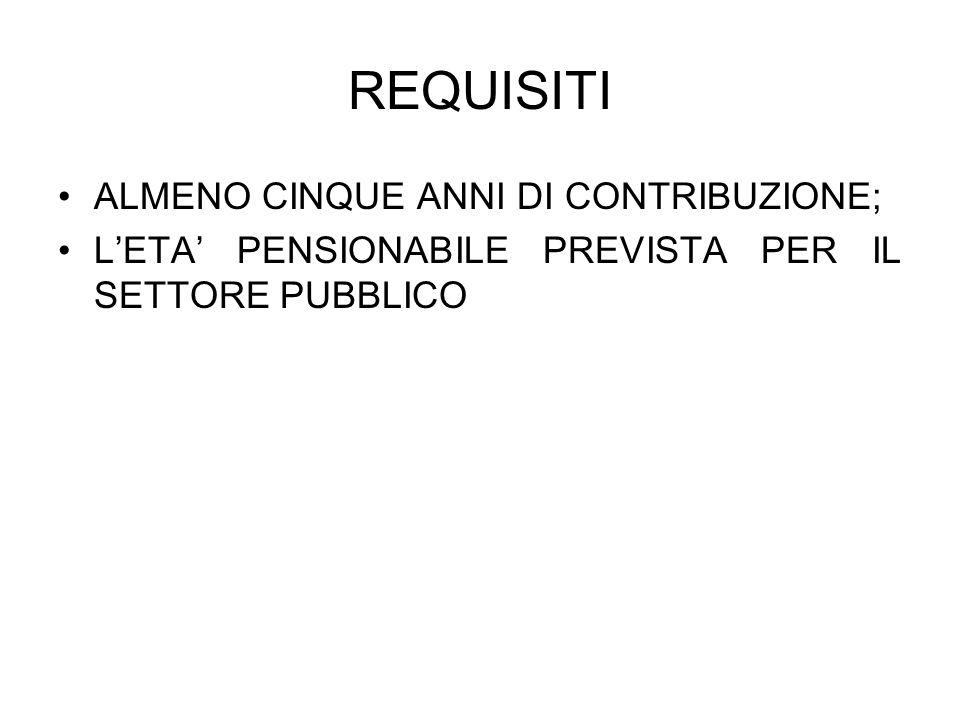 REQUISITI ALMENO CINQUE ANNI DI CONTRIBUZIONE;