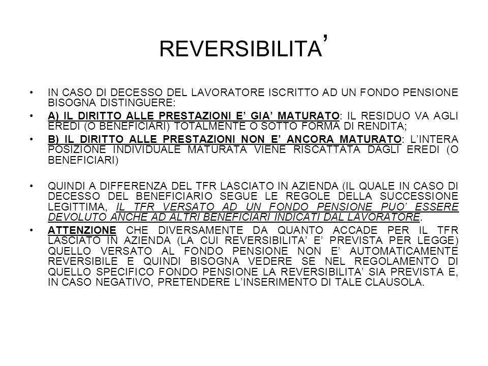 REVERSIBILITA' IN CASO DI DECESSO DEL LAVORATORE ISCRITTO AD UN FONDO PENSIONE BISOGNA DISTINGUERE: