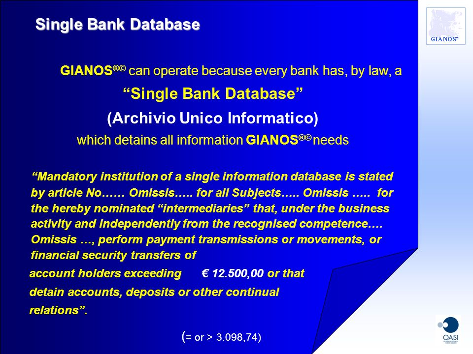 Single Bank Database (Archivio Unico Informatico)