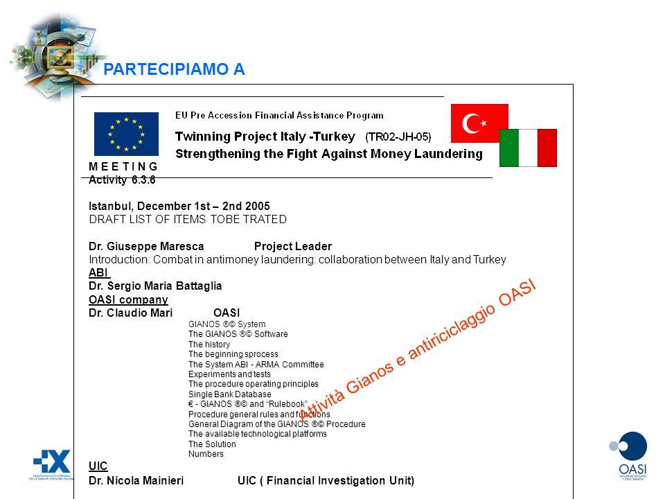 Attività Gianos e antiriciclaggio OASI