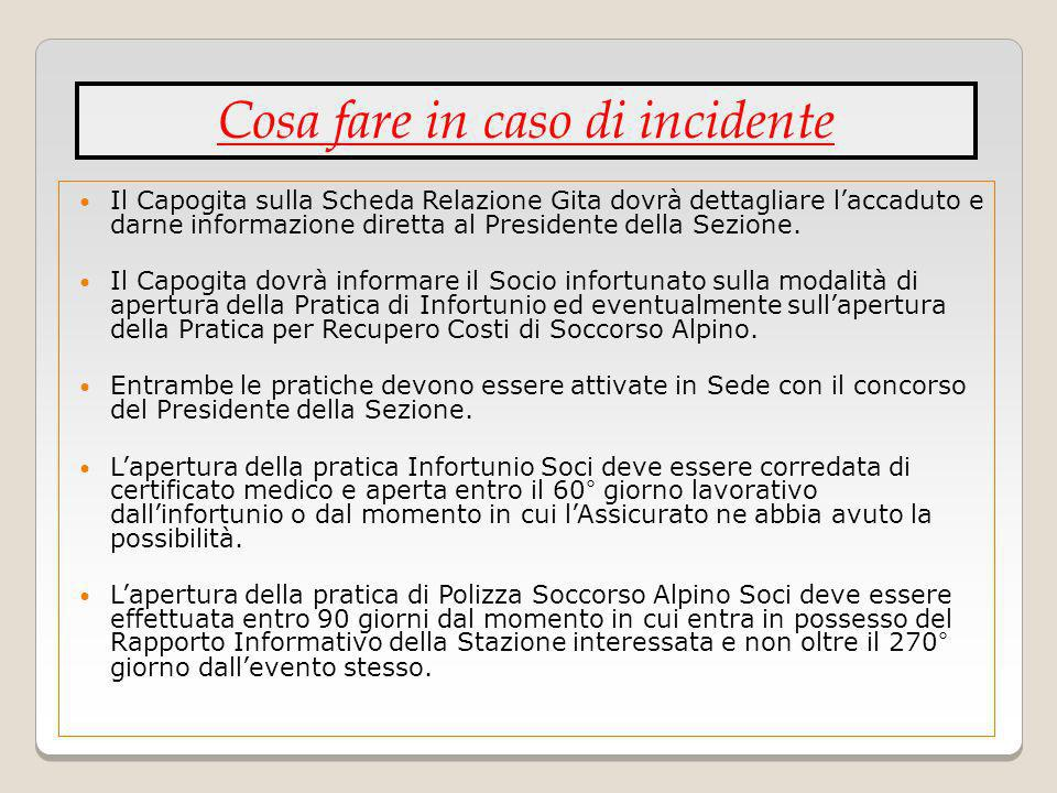 Cosa fare in caso di incidente