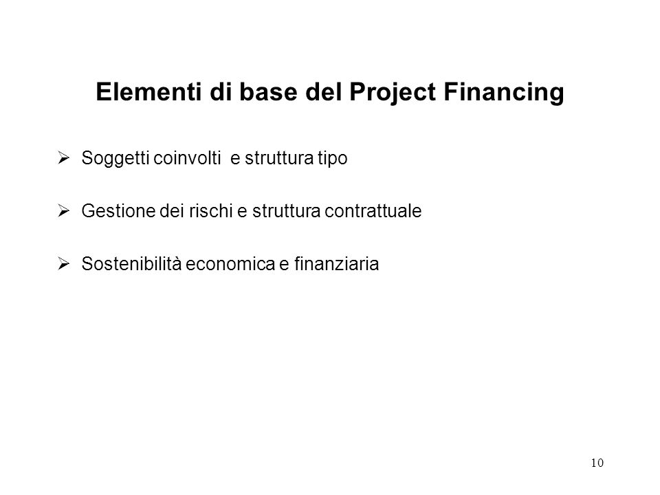 Elementi di base del Project Financing