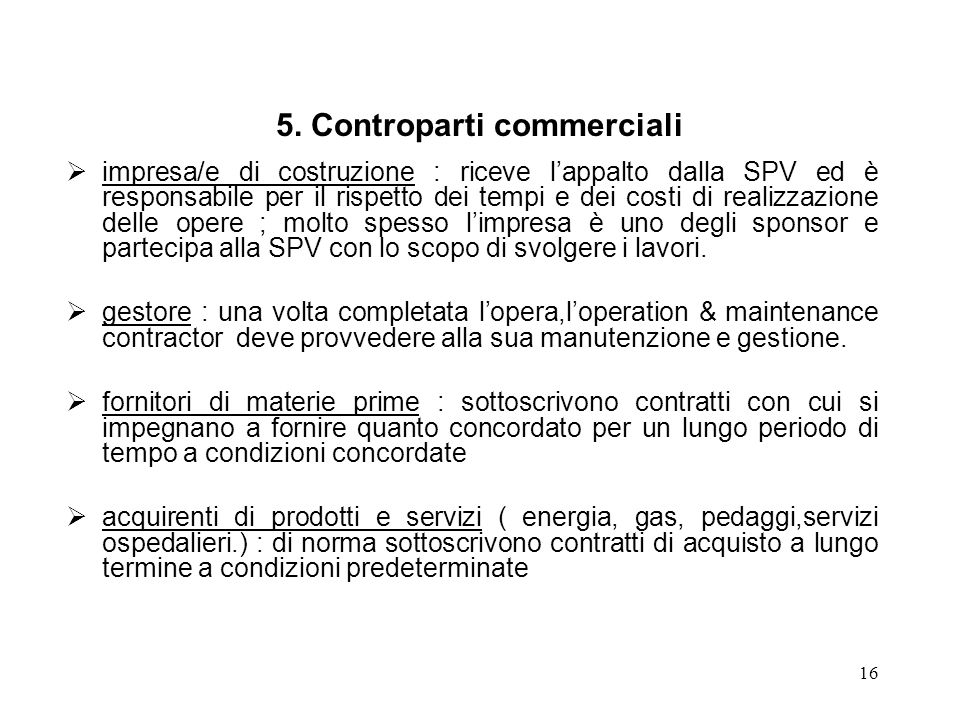 5. Controparti commerciali