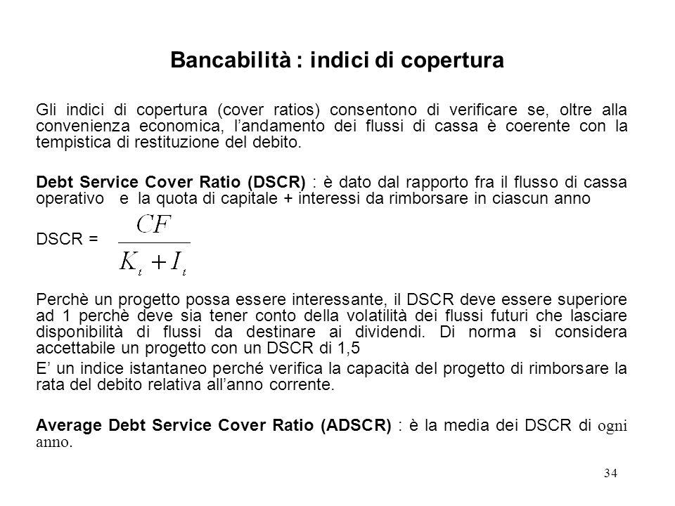 Bancabilità : indici di copertura