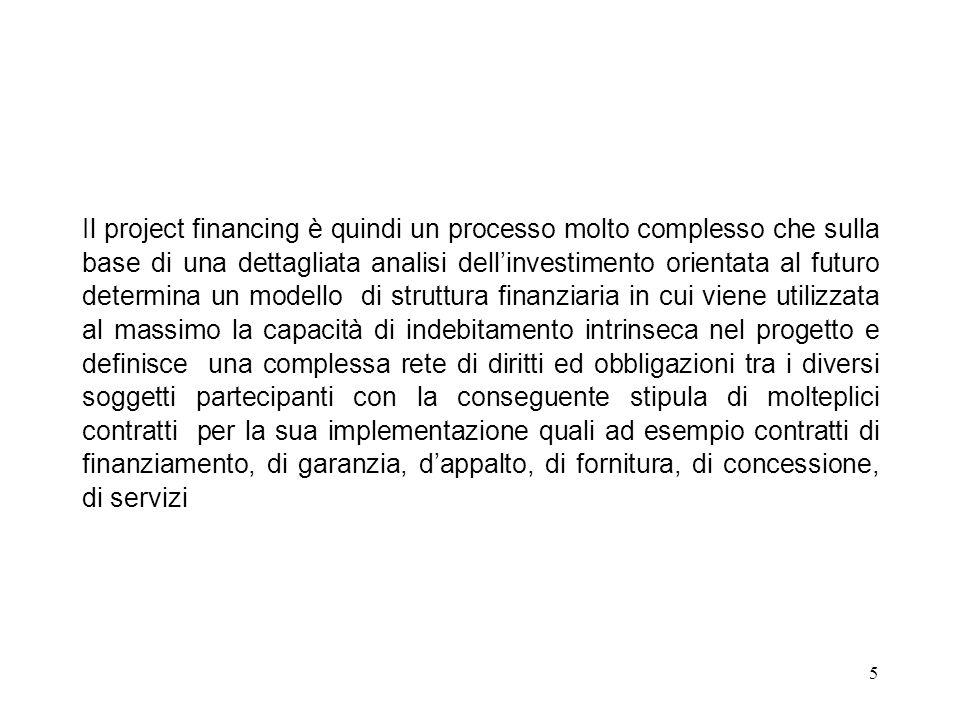 Il project financing è quindi un processo molto complesso che sulla base di una dettagliata analisi dell'investimento orientata al futuro determina un modello di struttura finanziaria in cui viene utilizzata al massimo la capacità di indebitamento intrinseca nel progetto e definisce una complessa rete di diritti ed obbligazioni tra i diversi soggetti partecipanti con la conseguente stipula di molteplici contratti per la sua implementazione quali ad esempio contratti di finanziamento, di garanzia, d'appalto, di fornitura, di concessione, di servizi