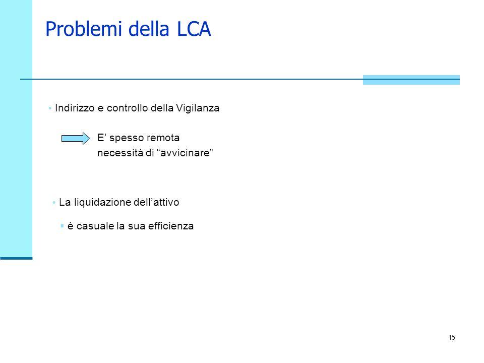 Problemi della LCA Indirizzo e controllo della Vigilanza