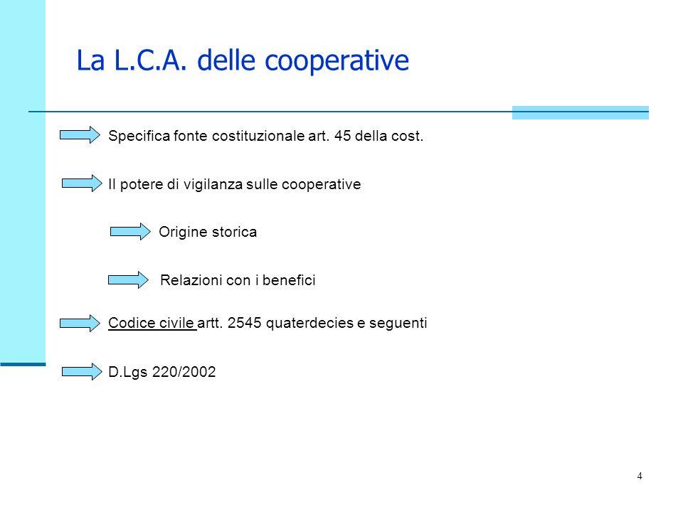 La L.C.A. delle cooperative