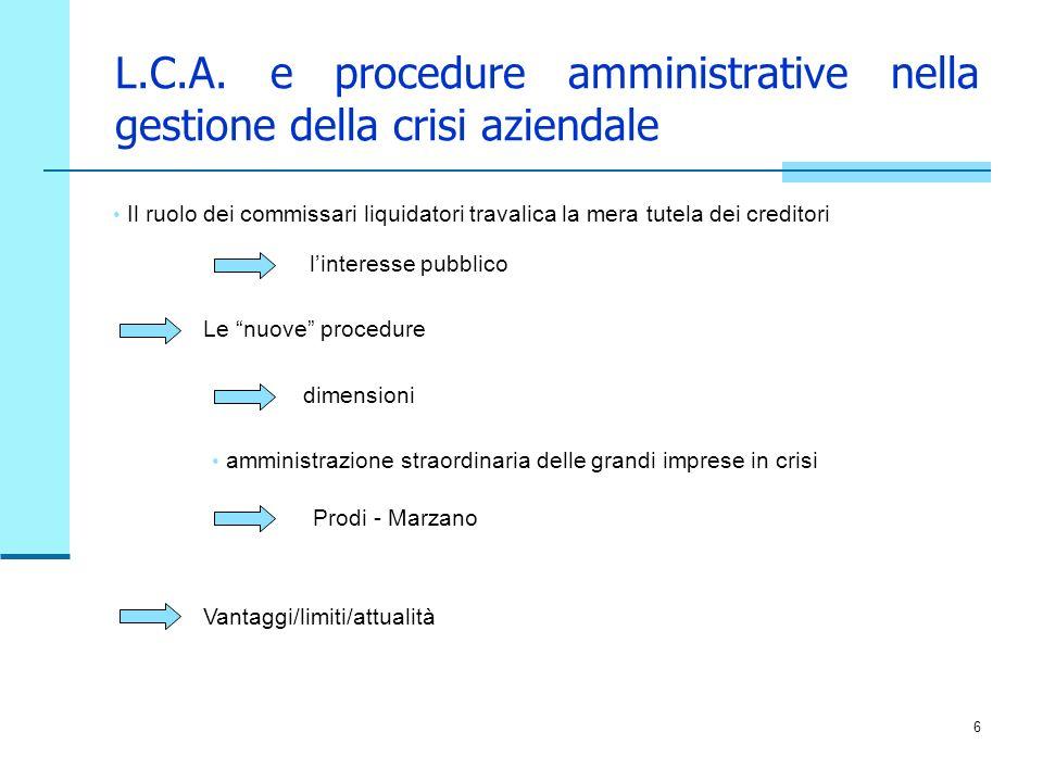 L.C.A. e procedure amministrative nella gestione della crisi aziendale
