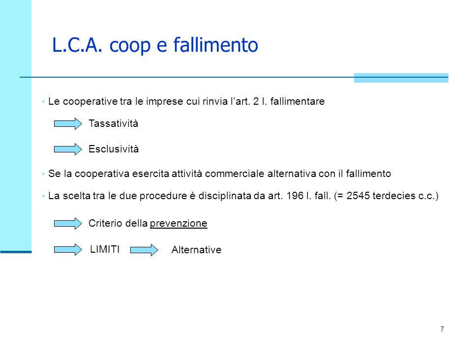 L.C.A. coop e fallimento Le cooperative tra le imprese cui rinvia l'art. 2 l. fallimentare. Tassatività.