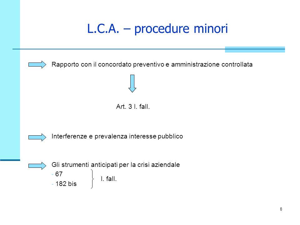 L.C.A. – procedure minori Rapporto con il concordato preventivo e amministrazione controllata. Art. 3 l. fall.
