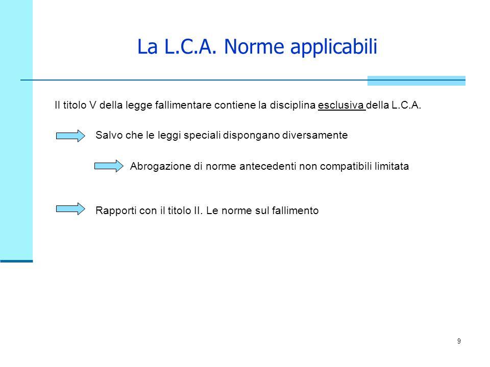 La L.C.A. Norme applicabili