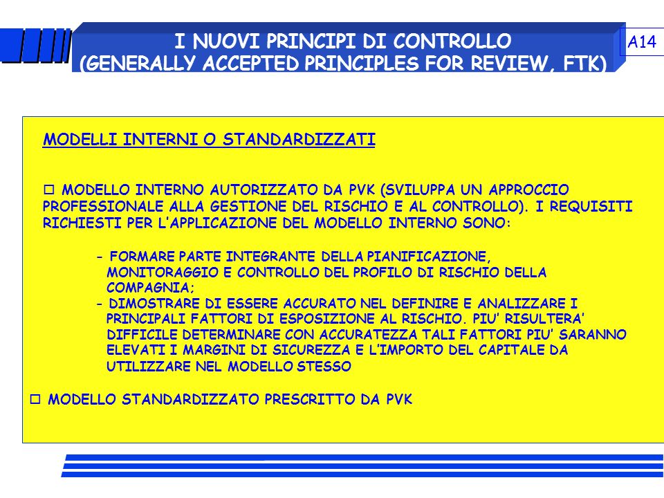 A14 I NUOVI PRINCIPI DI CONTROLLO (GENERALLY ACCEPTED PRINCIPLES FOR REVIEW, FTK) MODELLI INTERNI O STANDARDIZZATI.