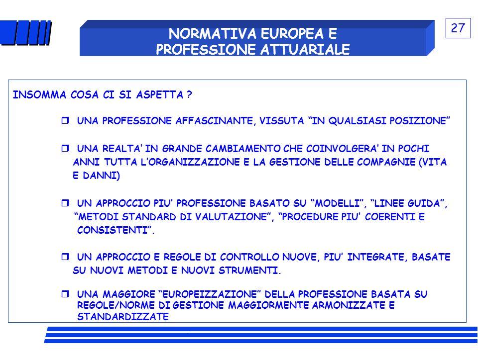 NORMATIVA EUROPEA E PROFESSIONE ATTUARIALE