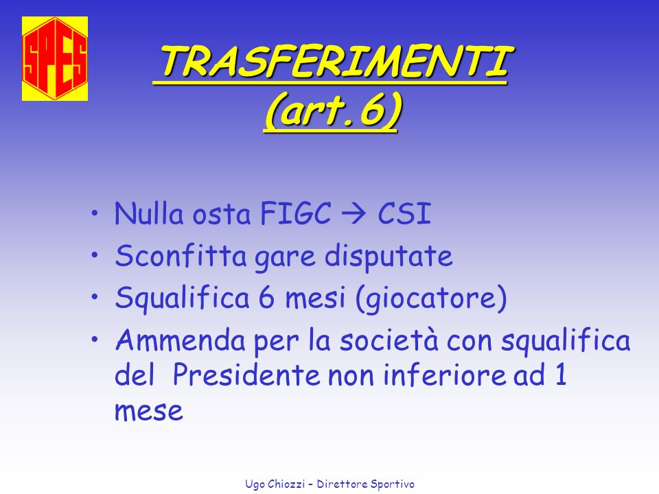 TRASFERIMENTI (art.6) Nulla osta FIGC  CSI Sconfitta gare disputate