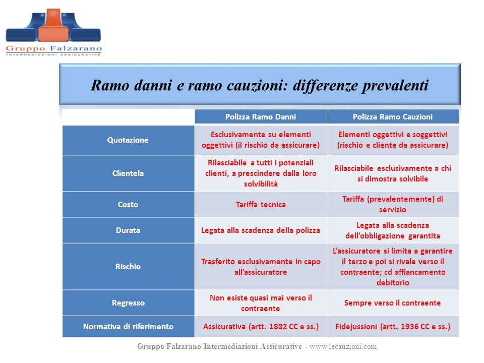 Ramo danni e ramo cauzioni: differenze prevalenti