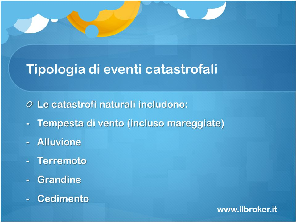 Tipologia di eventi catastrofali