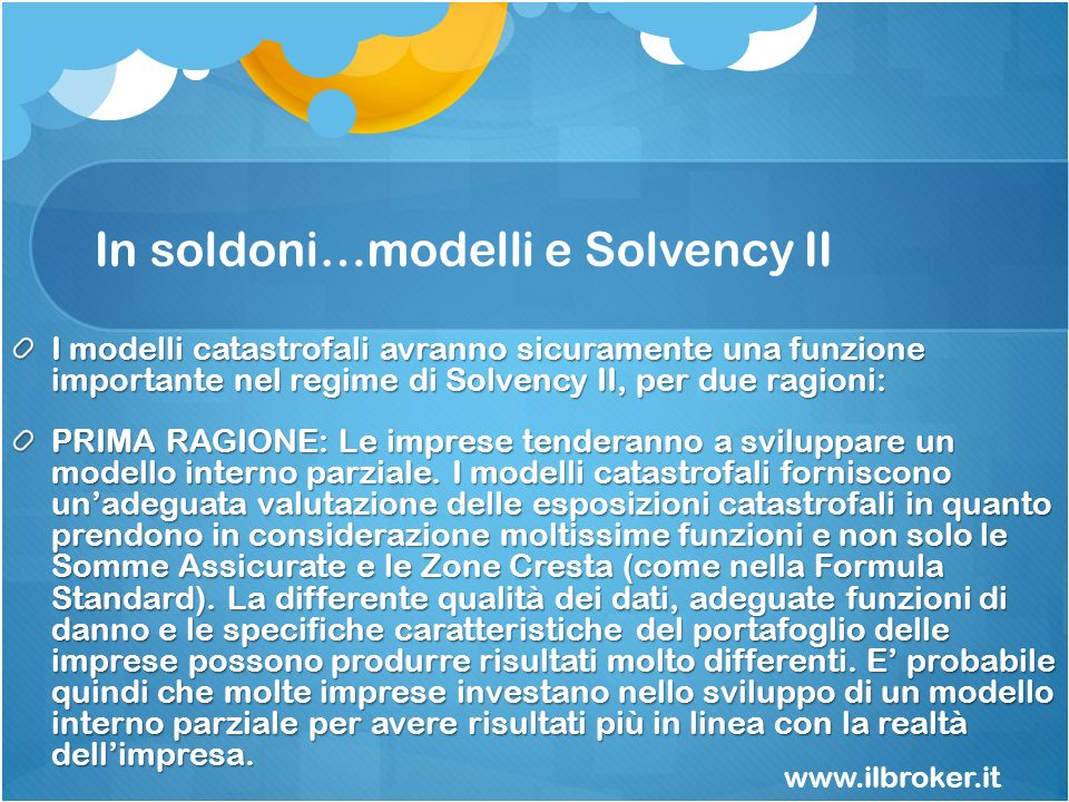 In soldoni…modelli e Solvency II