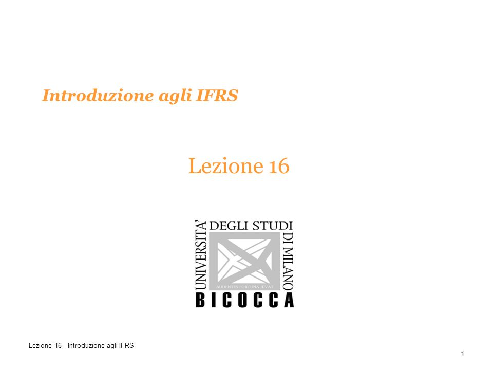 Introduzione agli IFRS