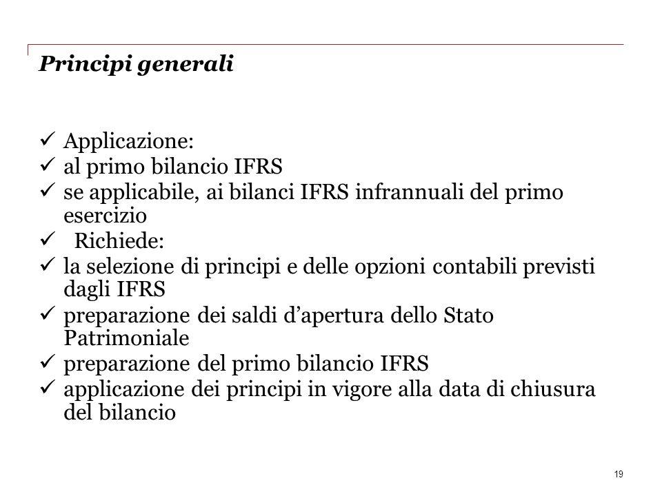 se applicabile, ai bilanci IFRS infrannuali del primo esercizio