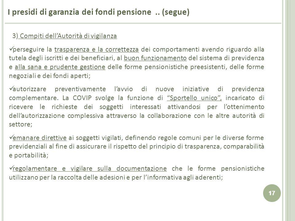 I presidi di garanzia dei fondi pensione .. (segue)