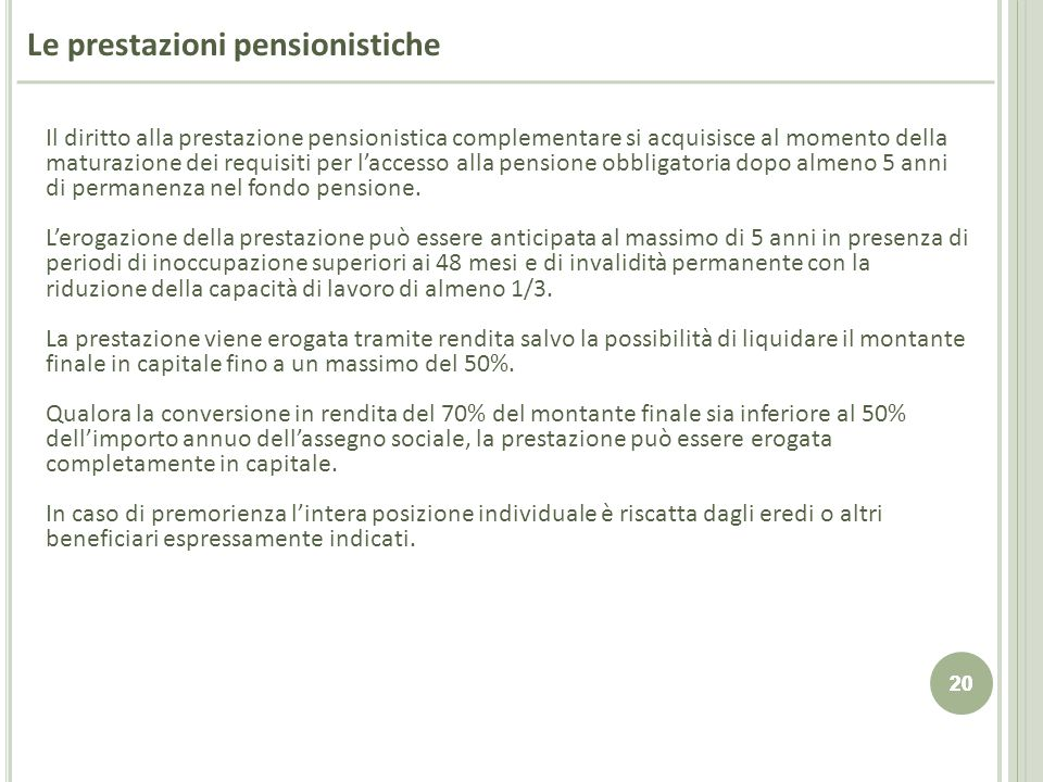 Le prestazioni pensionistiche