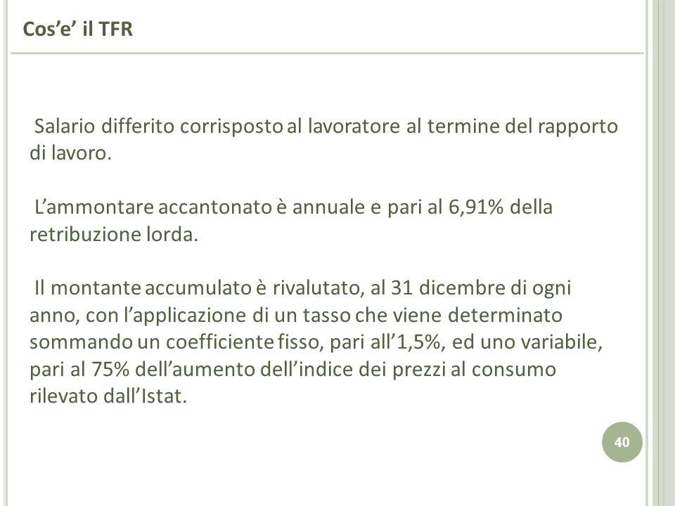 Cos'e' il TFR Salario differito corrisposto al lavoratore al termine del rapporto di lavoro.
