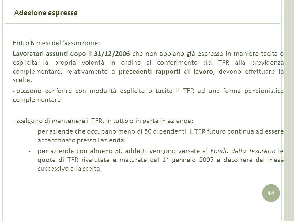 Adesione espressa Entro 6 mesi dall'assunzione: