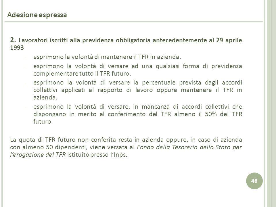Adesione espressa 2. Lavoratori iscritti alla previdenza obbligatoria antecedentemente al 29 aprile 1993.