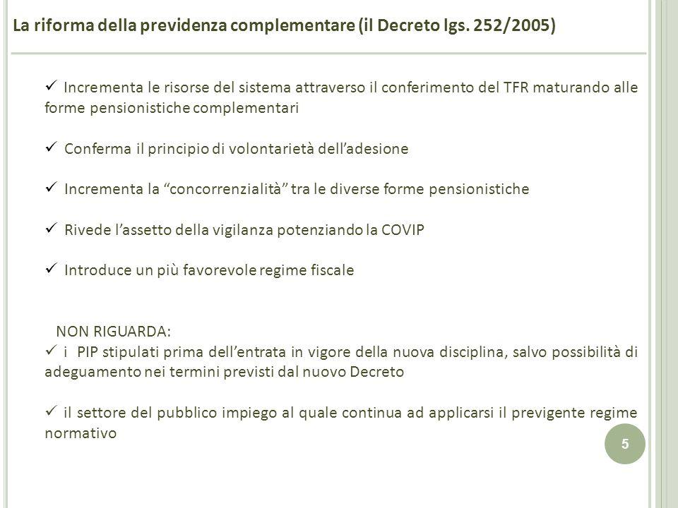 La riforma della previdenza complementare (il Decreto lgs. 252/2005)