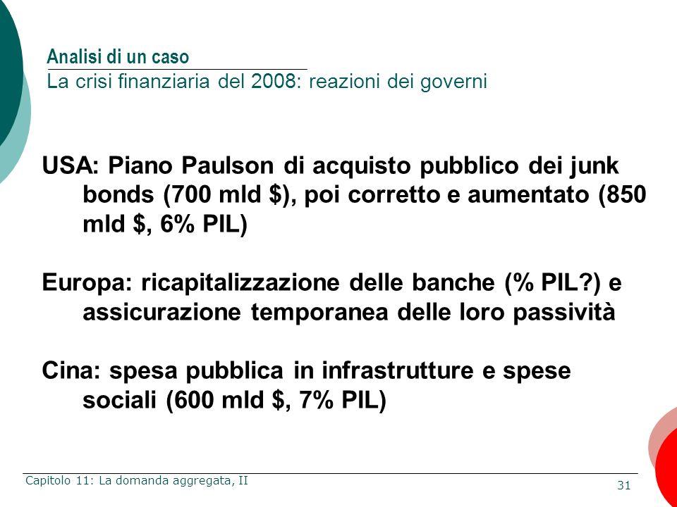 Analisi di un caso La crisi finanziaria del 2008: reazioni dei governi