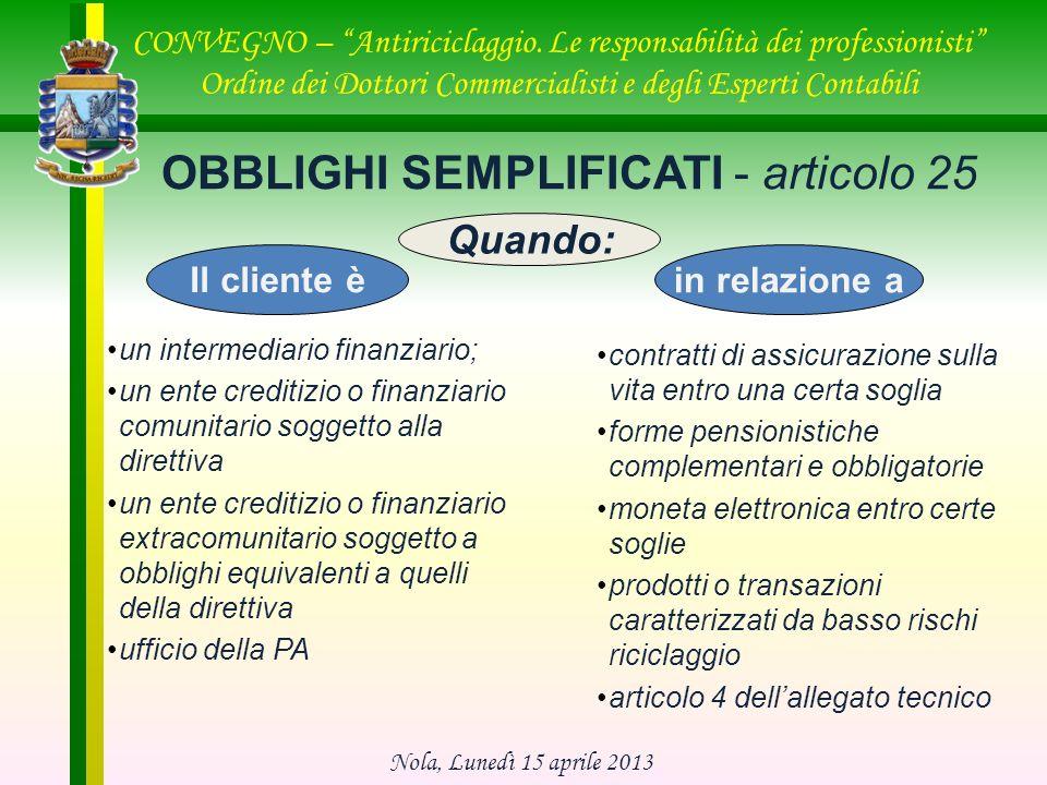 OBBLIGHI SEMPLIFICATI - articolo 25