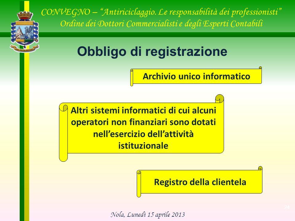 Obbligo di registrazione