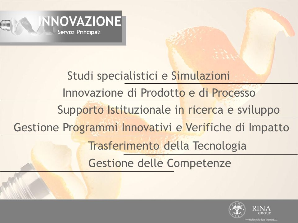 INNOVAZIONE Studi specialistici e Simulazioni