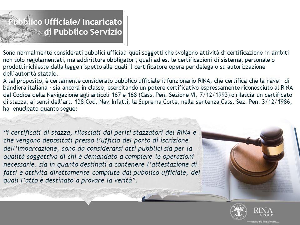 Pubblico Ufficiale/ Incaricato di Pubblico Servizio