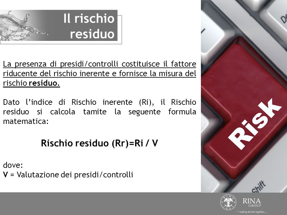 Rischio residuo (Rr)=Ri / V